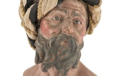 BUST OF ONE OF THE THREE KINGS IN EARTHENWARE - NAPLES END 18TH CENTURY