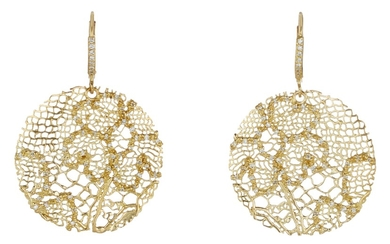 Barry Kronen, A Pair of Diamond and Gold Earrings