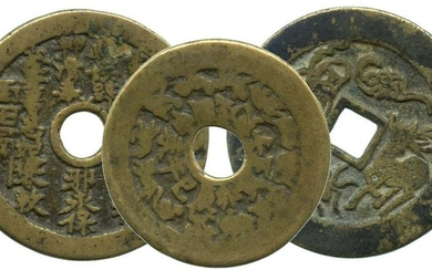 CHINA Qing, 3 Charms coins, all with longevity motif.