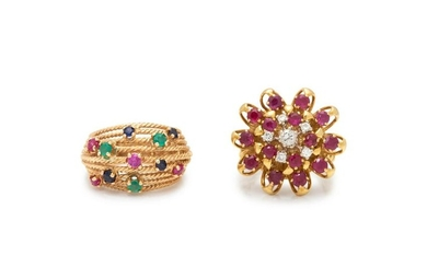 COLLECTION OF YELLOW GOLD AND GEMSTONE RINGS