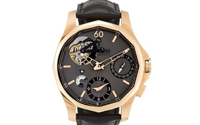 CORUM | ADMIRAL'S CUP SEAFENDER 47 TOURBILLON GMT A LIMITED EDITION PINK GOLD TOURBILLON DUAL TIME ZONE WRISTWATCH WITH DAY AND NIGHT INDICATION AND DATE, CIRCA 2010