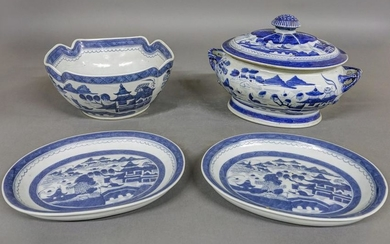 Canton Tureen, Bowl and Two Oval Dishes