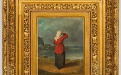 "Charles F. Blauvelt ""Woman on Shore"" Oil on Board"
