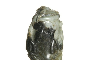 Chinese Black and White Jade Toggle, Ming or Earlier
