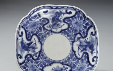 Chinese Blue and White Lobed Dish