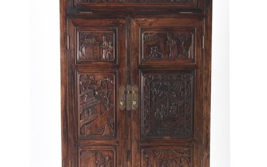 Chinese Carved Hardwood Two Door Cabinet.