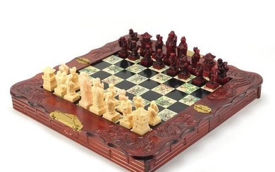 Chinese folding chess board with pieces, the border