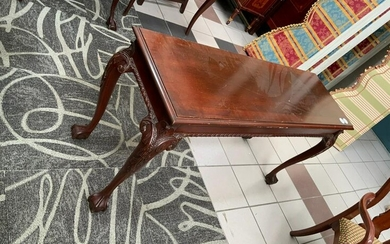 Chippendale Style Carved Mahogany Hall Table
