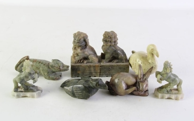 Collection of small stone animal figures incl. rabbit, horses and others (minor wear apparent)