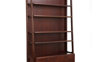 Dammand & Rasmussen: Wall unit of dark stained mahogany with shelves, two drawers and cabinet....