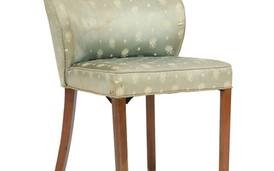 Danish furniture design: Dressing chair with dark stained beech legs, upholstered with green patterned fabric. 1940's.