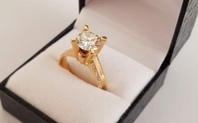 Diamond and Gold Ring; Approx. 2.1ct Round Cut Diamond with ...