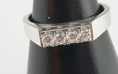 Diamond ring - white gold 585, stamped, ring...