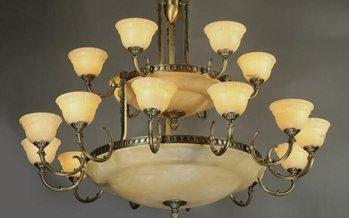 Empire style bronze and alabaster 18-light chandelier