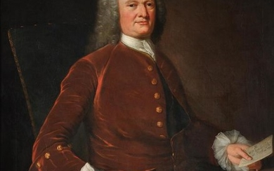 English School (Early 18th century), Portrait of William Morland Esq (1692-1774) holding the deed to Court Lodge