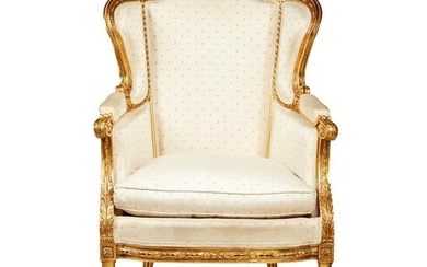 FRENCH GILTWOOD UPHOLSTERED BERGERE LATE 19TH CENTURY