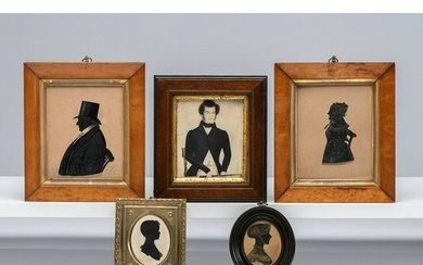 Four Painted Silhouettes and a Miniature Watercolor