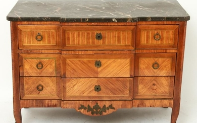 French Marquetry Commode / Dresser w Marble Top