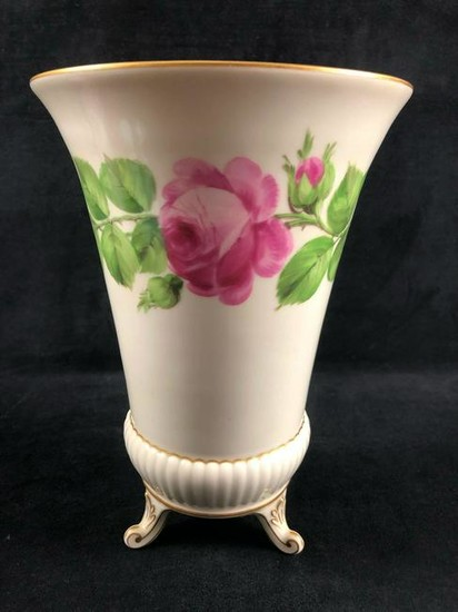 German Hand Painted Porcelain Urn Vase Pink Flowers