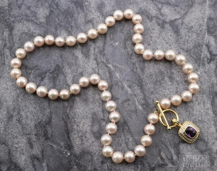 Gold Amethyst Pendant on Pearl Necklace