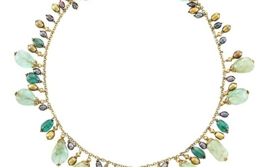 Gold, Green Beryl and Emerald Bead and Freshwater Pearl Fringe Necklace