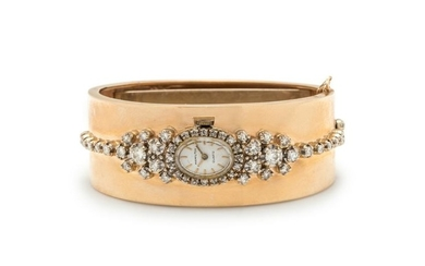 HAMILTON, BICOLOR GOLD AND DIAMOND BANGLE WRISTWATCH