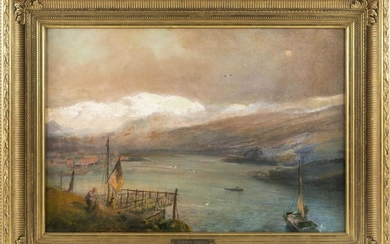 HERMANN OTTOMAR HERZOG, Pennsylvania/California/Germany, 1832-1932, An active river scene with snow-covered mountains in the distanc...