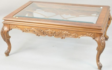Henredon Louis XV style coffee table with inset glass