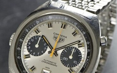 """Heuer, Swiss, """"Carrera Automatic Chronograph"""", Case No. 190131, Ref. 1153S, Cal. 12, 38 x 43 mm, circa 1971 A very attractive vintage automatic wrist chronograph with date and original steel bracelet Case: steel, screw back, crown on the left, original..."""