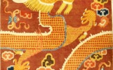 """Important Large Ningxia """"Pillar-Temple Rug"""" (Imperial Dragon)..."""