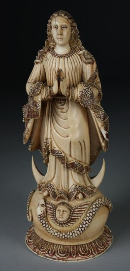 Indo-Portuguese Ivory Figure of the Immaculata with Half Moon and Stand FD1A