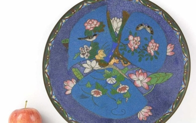 JAPANESE ANTIQUE CLOISONNE 12 INCH CHARGER