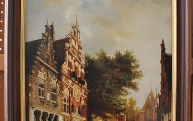 Jan Beekhout Street scene in Einkuizen oil on board Signed ...