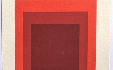 Josef Albers, Red Squares Lithograph Pencil Signed 1967