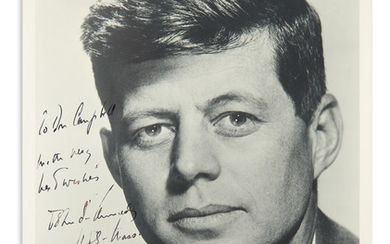 KENNEDY, JOHN F. Photograph Signed and Inscribed, as Senator, To Don Campbell / with very / best wishes / John F. Kennedy / USS Mass