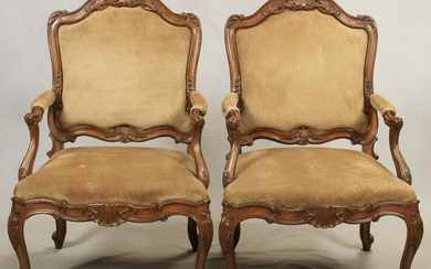 LOUIS XV STYLE OPEN ARM CHAIRS, SUEDE UPHOLSTERY