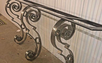 Large Contemporary Steel and Marble Entry Table FD1A