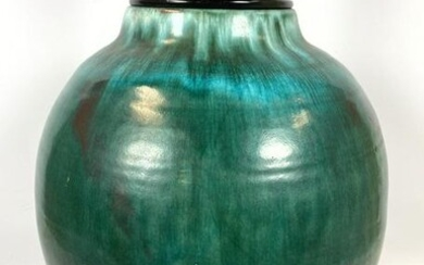 Large Green Glazed Pottery Table Lamp. Mid Century Mode