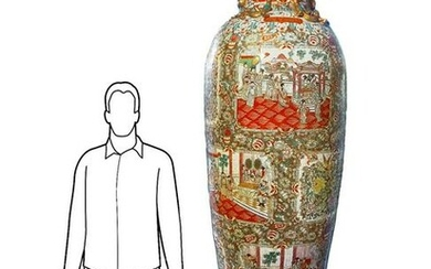 Large-size Chinese porcelain vase. H with base cm 235