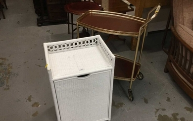Lloyd Loom style white painted laundry basket together with a two tier tea trolley (2)