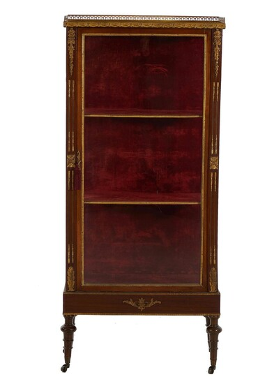 Louis XVI style bronze-mounted parquetry-inlaid curio cabinet