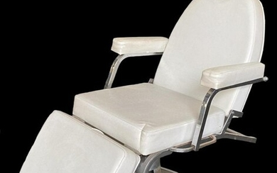 MID CENTURY MODERN CHROME MOUNTED BARBER CHAIR