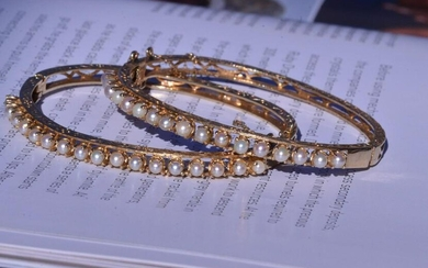 Matched Pair of Pearl Bangles in 14 Karat Yellow Gold