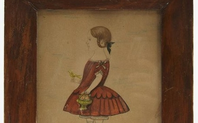 Miniature Portrait of a Girl in Red Dress