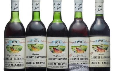 Mixed Louis Martini, Cabernet Sauvignon, Louis Martini, Special Selection Cabernet Sauvignon 1974 Slightly nicked labels Levels three top and one mid-upper shoulder (4) 1976 Good appearance Levels one base of neck and oen top shoulder (2) 1977 Good...