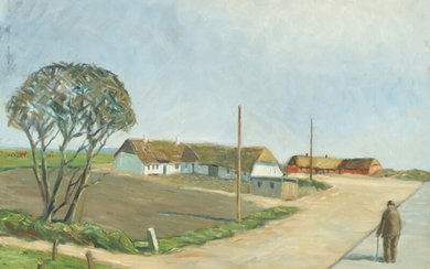 Niels Holbak: Landscape with a man near thatched houses. Signed N. Holbak. Oil on canvas. 54×68 cm.