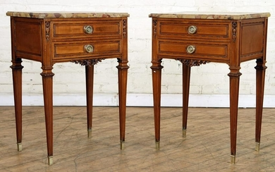 PAIR REGENCY STYLE CARVED TABLES MARBLE TOP C1940