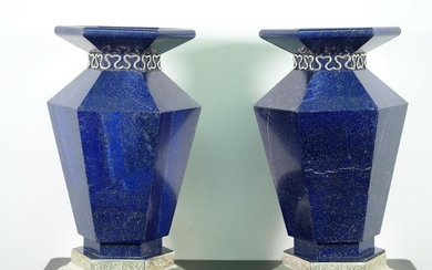 Pair, Asprey Sterling Silver and Lapis Lazuli Urns