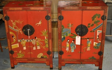 Pair Chinese Style Red Lacquer Cabinets