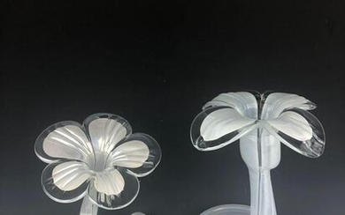 Pair of 20 th C. Opalescent Art Glass Flower Shaped
